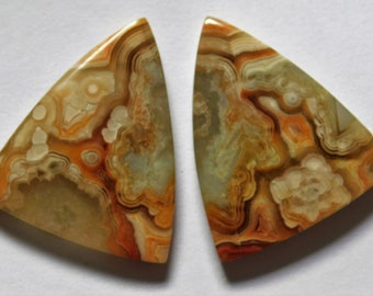 38.80 Cts Natural Crazy Lace Agate (27mm X 23mm each) Loose Cabochon Match Pair