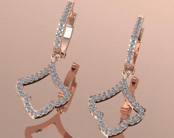 14K Rose Gold Earring with White Diamonds    M-ER1001