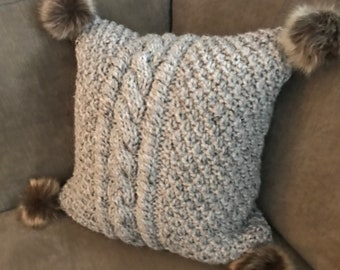 Cable Knit Pillow Cover with Faux Fur Pom Poms - Center Cables