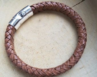 Mens Leather Braided Bracelet Brown Braided Bracelet Boyfriend Gift Leather Bracelet Thick Leather Bracelet