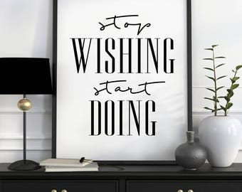 Stop Wishing, Start Doing Fitness Printable, Motivational Quote, Fitness wall Art, Inspirational Quote, Fitness Print, Yoga Printable Art