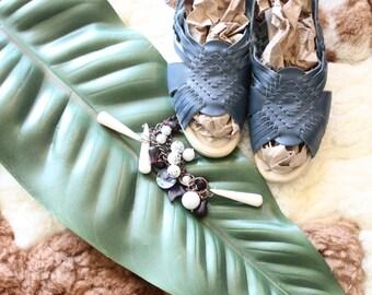 Vintage Blue Leather Huarache Sandals Sz 11