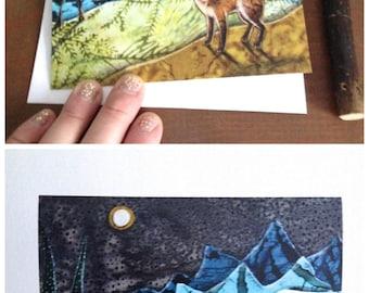 Fox Moon,  illustrated blank card, woodland fox full moon, glossy finish