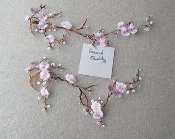 Pink and White Cherry Blossom applique - iron on or sew on - second quality