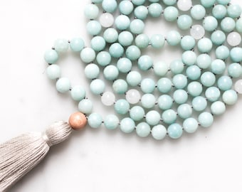 Soothe Mala Necklace | amazonite necklace, mala beads, mala tassel necklace, crystal necklace, gifts for her, gemstone necklace, yoga gift