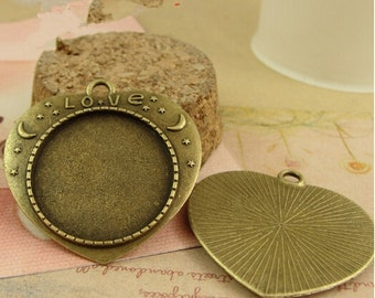 15pcs Antiqued Bronze Hearts Pendant Trays,25mm Cabochon Setting Vintage Pendant Trays Blanks