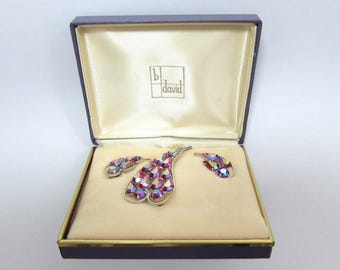 b david AB brooch & clip earrings in presentation box - curved shape -  c 60s - free US shg
