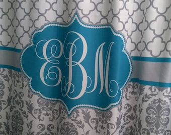 Shower Curtain Fabric Damask Lattice 70, 74, 78, 84, 96 inch long lengths Personalized Monogrammed for you, shown Cool Gray & Peacock