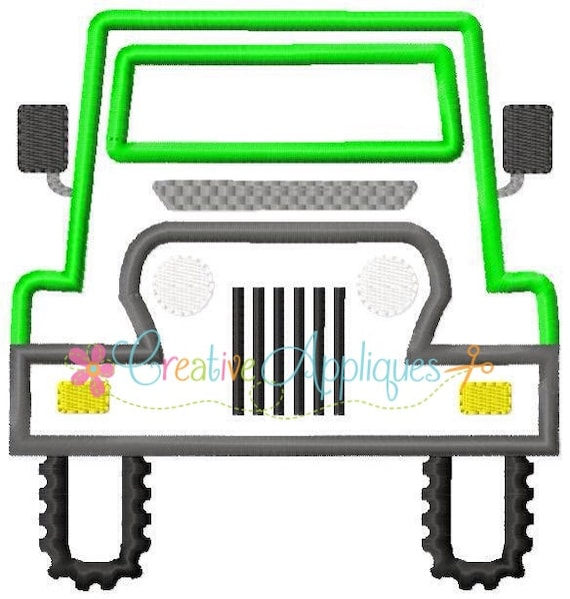 Truck 4x4 machine embroidery applique design 4 sizes from for Embroidery office design version 9