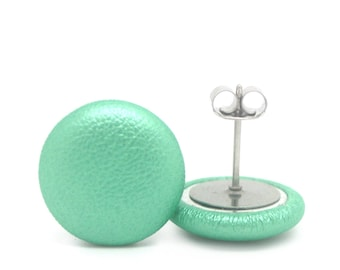 Quality Nickel Free Mini Button Earrings - Faux Leather Mint Green