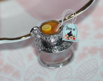 Alice in Wonderland Ring - Drink Me Eat Me - Tea Party Ring - Food Ring - Miniature Food Jewelry