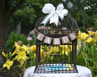 Cards Banner -  Suitcase decoration  - Reception decor - Rustic Wedding