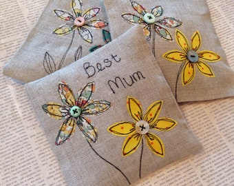 Lavender scented sachets for Mum, Mother's Day gift idea, 3 linen lavender sachets with Liberty of London flower applique and lettering