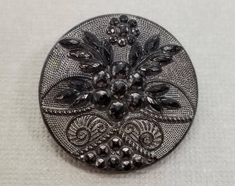 Exquisite Fancy Black Glass Coat Button ~ Graceful Silver Luster Flower Floral with Faux Cut Steels ~ 7/8 inch 22mm ~ Glass Sewing Button