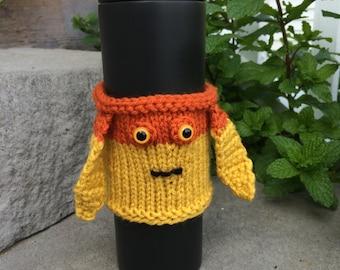 Star Wars Jar Jar Binks cup cozy, hand knit/crocheted
