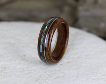 Wood Ring, Rosewood with Guitar String & Abalone, Mens Wood Rings, Womens Wood Rings, Wood Engagement Ring, Wood Wedding Bands, Wooden Rings