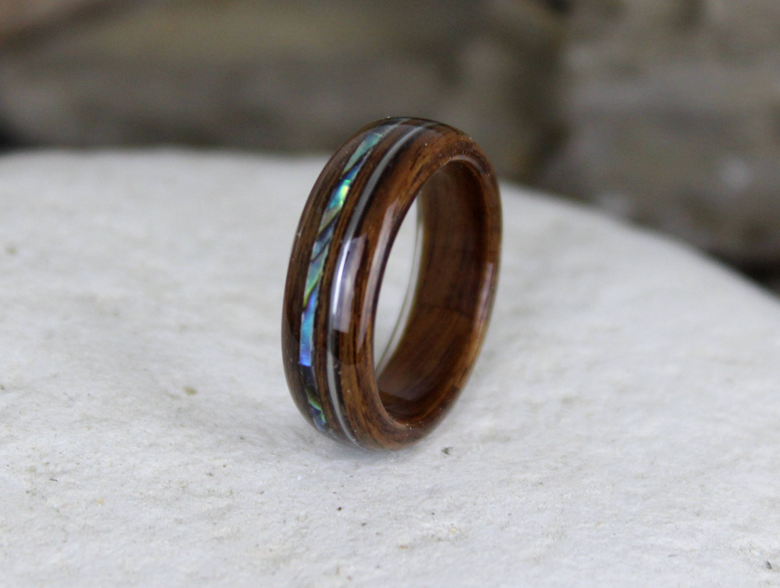 ring tungsten abalone band pin meteorite rings wedding