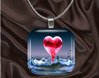 Love Glass Tile Pendant with chain(L2.3)