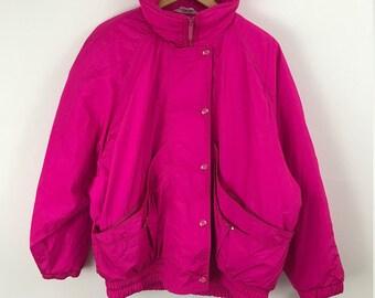 90s Ski Jacket. Funky 90s Jacket. Bright Jacket. Hot Pink. Pink Ski Jacket. 90s Coat. Women. Large. Winter coat. Ski jacket. Warm. Profile