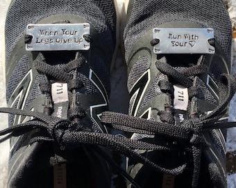 Personalized Shoe Tags. Running. Gift for Runner. Marathon Runner. Motivation. Triathlete. Words of Inspiration. Gift for Athlete.