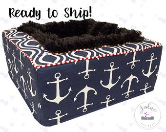 Nautical Luxury Pet Bed |  Dog Bed or Cat Bed - Plush Black Blanket Inside | Anchors, Navy, Red | Washable, Ready to Ship!