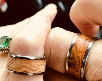 Cherry Burl Rings Titanium and Stainless set of two