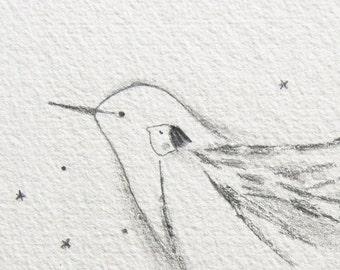 ORIGINAL drawing, bird girl, bird illustration, whimsical art, bird soul, freedom, healing, spiritual, magical, fairytale art