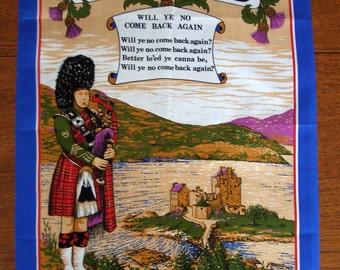 Vintage Tea Towel - Pure Cotton - a Souvenir from Romantic Scotland
