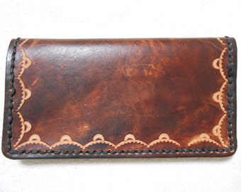 Genuine Leather, Brown Checkbook Cover With Border Stamp.  Personalized Checkbook Cover