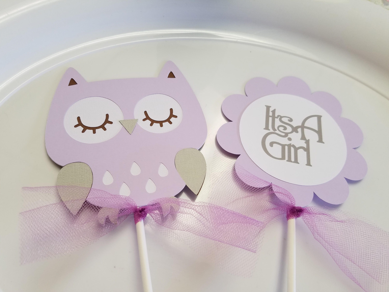 Owl Baby Shower centerpiece sticks Owl its a girl owl