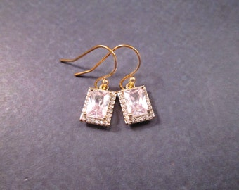 Cubic Zirconia Earrings, Emerald Cut White Stones, Gold Dangle Earrings, FREE Shipping U.S.
