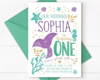 Mermaid Invitation Mermaid Birthday Invitation Teal Purple Gold Sparkle Mermaid Invitation Under The Sea Invitation Mermaid Birthday Party