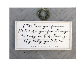 I'll love you forever I'll like you for always As long as im living My baby you'll be , shabby chic wood sign