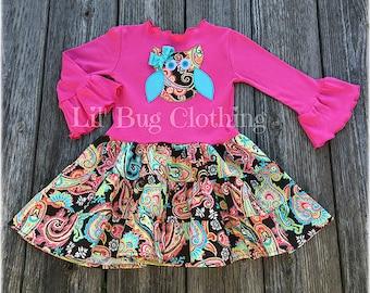Fall Owl Tiered Dress, Owl Paisley Girl Dress, Fall Owl Birthday Party Dress, Fall WInter Girl Clothes