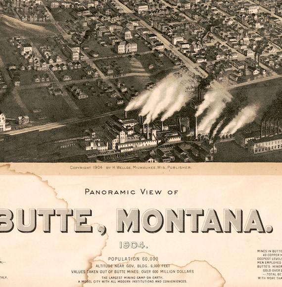 Map of City of Butte Silver Bow County Montana 1904 MT