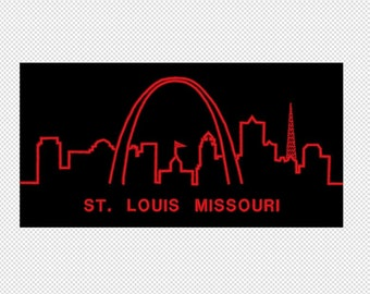 St Louis- City Skyline - Missouri - Embroidery Design File - multiple formats - 2 sizes- instant download