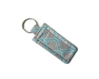 Travel Soap Keychain Pouch - Gray Aqua Lip Balm Holder - Geometric Pattern - Modern Design - Attach to Purse - Cozy Carrier - Quatrefoil