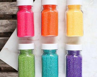 Bright Rainbow Sanding Sugar Set, Edible Sprinkles, Rainbow Party Sprinkles, Cookie Sprinkles, Cocktail Rimming Sugar, Rainbow Sprinkles