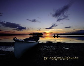 Canoes at the lake, Elk Island, Canada, paddlers, Sunset, archival quality paper, semi-gloss