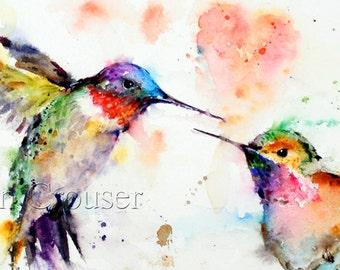 HUMMINGBIRD Watercolor Greeting Cards by Dean Crouser, Signed by the Artist