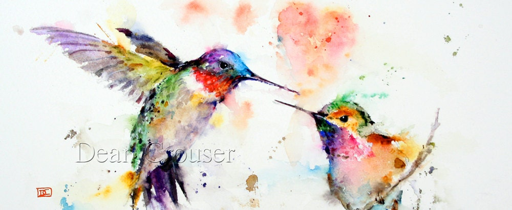 Hummingbird watercolor greeting cards by dean crouser signed zoom m4hsunfo