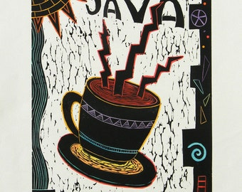 "Linocut ""Java"".  hand pulled print. printmaking.hand colored print."