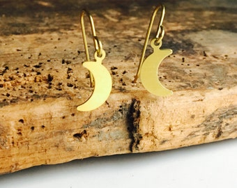 Brass Moon Dangle Earrings, Moon Earrings, Brass Earrings, Simple Earrings, Inexpensive Earrings