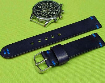 Handmade watch strap Dark blue Chromexcel leather 22mm 20mm 18mm 24mm watch band  021