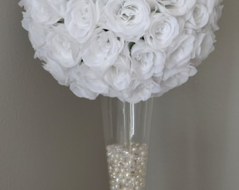 "WHITE flower ball, WEDDING CENTERPIECE, White pomander White kissing ball, flower girl bouquet 7"" 8"" 10"" 12 14"" 16"" 18"""