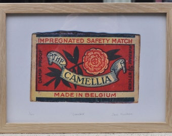 The Camellia Safety Match Vintage Matchbox Label Framed Print - Limited Edition