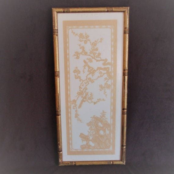 Bamboo Style Aged Gold Painted Wood Picture Frame with Chinese Paper ...
