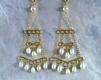 Pearl Chandelier Earrings- Gold Filled, Hammered Wire