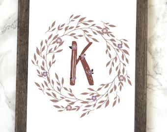Monogram Letter K Printable, Floral Monogram Letter K Printable, Letter K Wall Art, Letter K Printable, Monogram Printable, Initial Print
