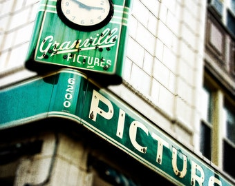 Vintage Sign Photograph, Chicago Wall Art Print, Retro Sign Decor, Edgewater Photography, Emerald Green, Off White, Granville, Home Decor